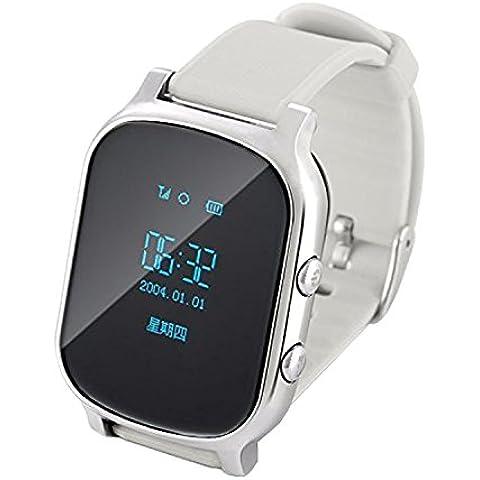 COOSA reloj GPS Tracker para niños y ancianos de edad avanzada Botón pulsera GPS Google Map SOS GPS pulsera Personal Tracker GSM SGP localizador T58 reloj Rastreador para iOS Android (plata,