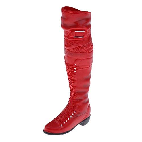 MagiDeal 1/6 Mitte-Kalb Knie Hohe Stiefel Schuhe Für 12 Inch weibliche Figur Körper - Rot (Hohe-ferse-knie-boot)