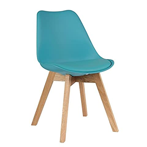 Set of 4 Mmilo Tulip Dining Chairs Office Chairs With Solid Legs Padded X 4 Set (Teal/ Turquoise/ Ocean Blue)