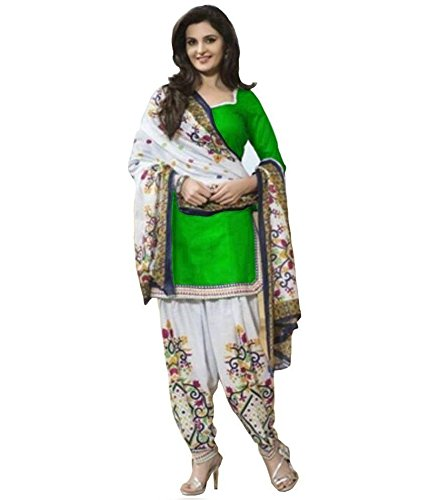 Clickedia Women\'s American Crepe Printed Green White Patiala Suit- Dress Material
