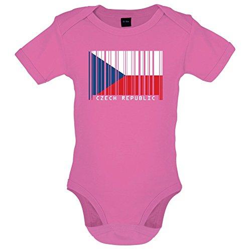 Dressdown Czech Republic/Tschechische Republik Barcode Flagge - Lustiger Baby-Body - Bubble-Gum-Pink - 3 bis 6 Monate -