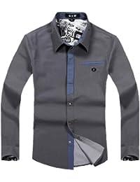 DAYISS®Fashion Herren Hemd Slim Fit Bluse Reverskragen Langarm Freizeithemd
