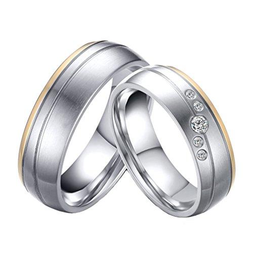 PAURO Paar Edelstahl Titan Stahl Gold Band mit Zirkonia 6mm Versprechen Hochzeit und EngageHerrent Ring DaHerren Größe 57 - Herren Gold Ring Versprechen