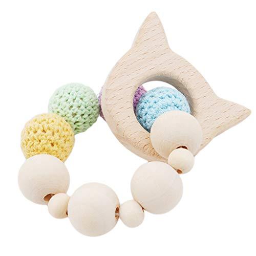 aus Holz Beißring Handarbeit Krankenpflege Spielzeug häkeln Bead Kinderkrankheiten Armband (Kätzchen) ()