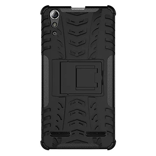 ImagineDesign™ Defender Tough Hybrid Armour Shockproof Hard PC + TPU with Kick Stand Rugged Back Case Cover for LENOVO A6000 / A6000+ A6000 PLUS – Black