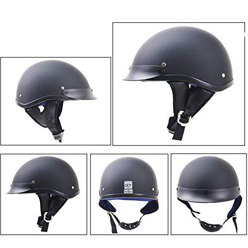 DTVX Retro-Persönlichkeit Harley Motorradhelm, Prince Motorrad-Schutzhelm, Motorrad-Helm-High Gloss schwarz,matteblack,S
