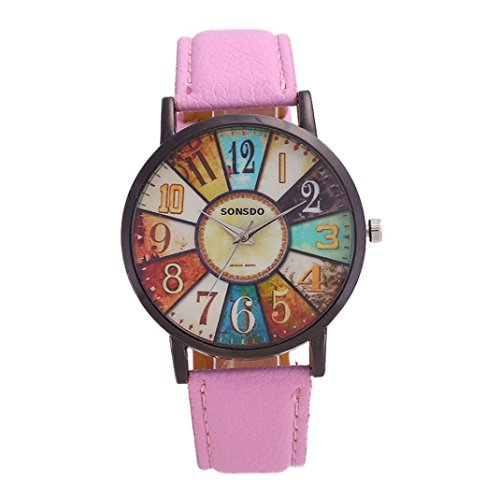 Arbeiten Sie Damen Uhr Retro Zufällige Kunstleder Analoge Quarz Uhr für Tägliches / Party um (Pink)