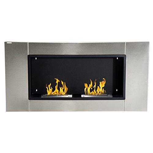 Outsunny - Camino Bioetanolo da parete con 2 Bruciatori 110 cm 3LT - Bio Etanolo Biocamino Inox