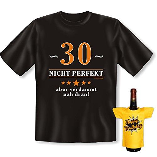 Geburtstags-Fun-Shirt-Set inkl. Mini-Shirt/Flaschendeko: 30 nicht perfekt aber verdammt nah dran! Schwarz
