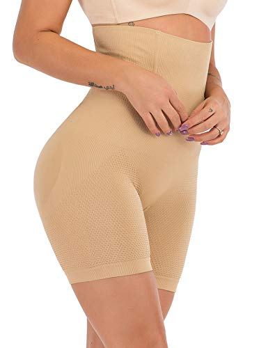 HOMETA Damen Butt Lifter Hi-Waist Oberschenkel schlanker Shapewear für Frauen Bauchkontrolle Shorts Höschen - Beige - Mittel -
