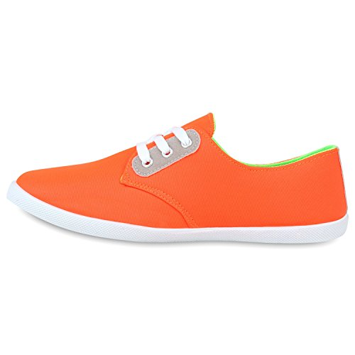 Damen Sneakers Low Freizeit Schuhe Basic Turnschuhe Orange