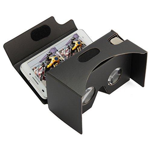 Maxfield 65-9000017, Virtual Reality Brille mit Taster, Inspired by Google Cardboard, Kopfband, Augenschonende VR-Brille für Android und iPhone Smartphone mit 4,3 - 5,3 Zoll Bildschirm, Schwarz