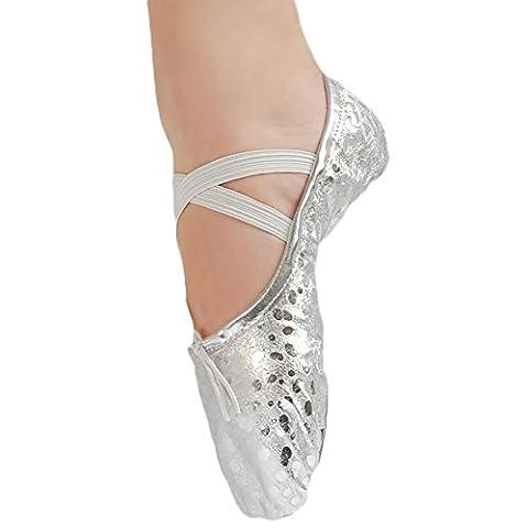KRY Leather Ballet Shoes, Ballet fille mixte adulte femme mixte enfant - multicolore - Sequins Silver, 28 EU