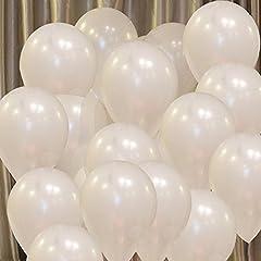Idea Regalo - Vercrown 100 Pz Palloncini Bianca per Party, Compleanni, Matrimoni, Anniversario,Natale e Nuovi Anni Decorazione 10 Pollici 1.8g Latice Palloncini
