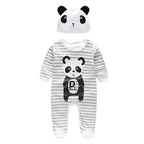 Oyedens Baby Boy Girl Panda Print Long Sleeve Playsuit Rompers with Hat (3-6M, Gray)