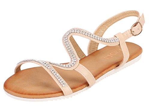 Robe d'été avec bout ouvert-Chaussures Sandales plates Beige - beige