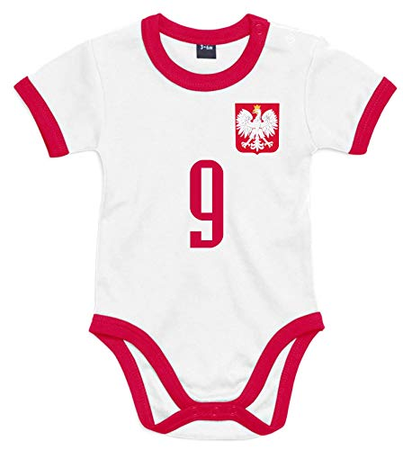 nationshirt Baby Body Polen Trikot Look - Bodysuit Ringer T-Shirt - No.9 BR Polska (6/12 M)