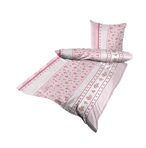 Bettwäsche Mikrofaser Bettbezug 2 teilig 135x200 155x220 Farbwahl (Rosa-Weiß Blumen, 155x220 cm)
