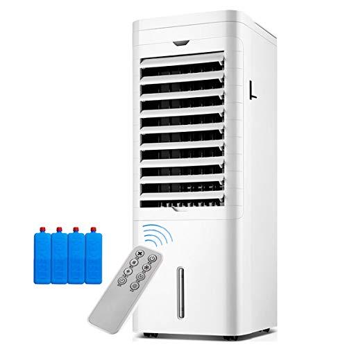 YWARX 4-in-1-Luftkühler, Mobiles Klimagerät-Luftreiniger-Luftbefeuchter und Heizung,12-Stunden Timer, 2 Wassertank,Fernbedienung/Weiß