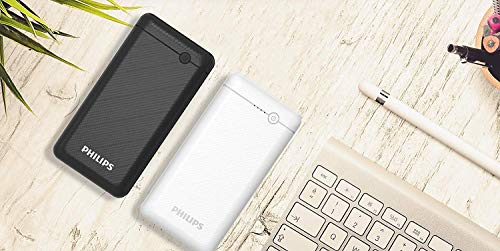 Best philips power bank in India 2020 Philips DLP1720CV Fast Charging Power Bank 20000mAh with Lithium Polymer Battery Black (Twin USB Output Port 3.1A, with Micro USB and Type c Input Image 4