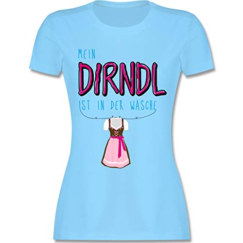 Oktoberfest Damen - Mein Dirndl ist in der Wäsche - XL - Hellblau - L191 - Damen Tshirt und Frauen T-Shirt