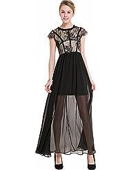 La Sra. verano vestidos de verano LACE LACE occidental stitching chiffon falda larga cuello redondo sin mangas vestidos de encaje ,M/EU38-YU&XIN