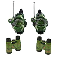 YGZN Watch Walkie Talkies and Binoculars for Kids, Outdoor Toys Two-Way Long Range Watch Radio Transceiver with Flashlight for Children (Camouflage)