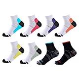 Meowoo 8 Paires Chaussettes de Compression pour Homme et Femme Chaussettes Sport Courte pour Sportive, Cyclisme, Fitness, Athlétisme, Voyage en Avion (L/XL)