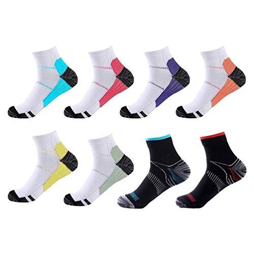 Meowoo Running Kompressionssocken für Herren Damen Wandersocken Laufsocken Compression Socks Trekkingsocken, Geeignet für Fußgröße 34-46, 8 Paare(L/XL)