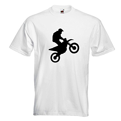 KIWISTAR - Motocross Motorrad Bike T-Shirt in 15 verschiedenen Farben - Herren Funshirt bedruckt Design Sprüche Spruch Motive Oberteil Baumwolle Print Größe S M L XL XXL Weiß