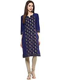 M&D Casual Printed Women's Kurti (Blue)