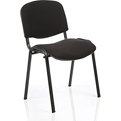 3WM ISO Stacking Chair Black Fabric Black Frame Without Arms - inexpensive UK light shop.