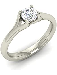 Silver Star Gems Jewellery Cubic Zirconia 14k White Gold Plated Women's Engagement Ring