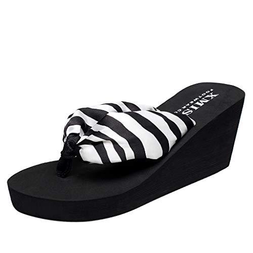 Zebra Wedge Flip Flop (ZYUEER Damen Schuhe Zebra-Muster Flip-Flops Wedges Strand Anti-Slip Bosmia Schuhe Post Slipper Strandschuhe Hausschuhe)