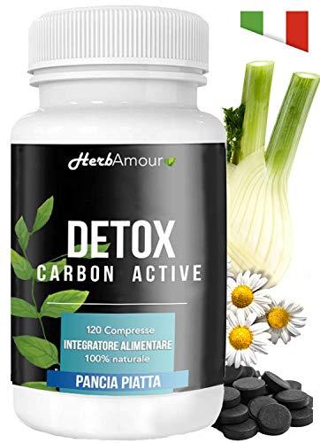 herbamour detox carbon active | dimagrante forte | eccezionale per aerofagia e meteorismo | 120 cpr brucia grassi potenti veloci per perdere peso | eccezionale per pancia piatta | termogenico naturale