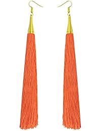Orange Charmer Long Tassel Fashion Earrings For Girls And Women By LuxZery | Only Buy From The Real Manufacturer...