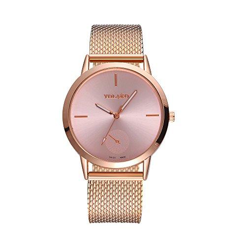 Yvelands Uhren Modische hohe Härte Glasspiegel Männer und Frauen allgemeine Mesh Belt Watch(Rose Gold,Free)