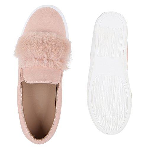 Damen Slip-ons Kroko Optik Sneakers Metallic Slipper Bequem Rosa Camargo