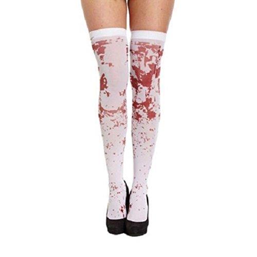 Damen Mädchen Kniestrümpfe AMUSTER Halloween Socken Frauen Horror Weiß Party Bloody Nurse Fancy Lange (Kostüme Mit Halloween Netzstrümpfe)