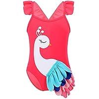 IEFIEL Traje de Baño Una Pieza Bañador Estampado 3D Disfraz de Flamenco para Bebé Niña 3
