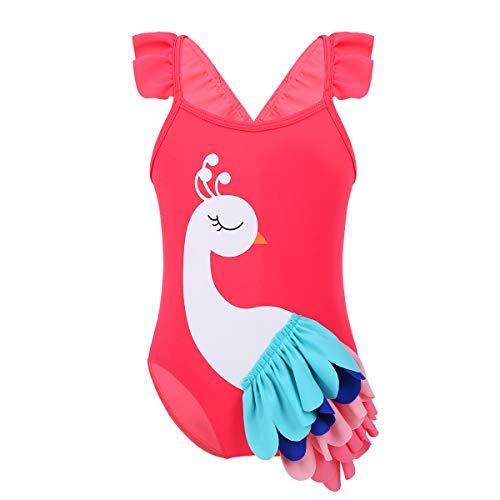 Agoky Baby Mädchen Einteiler Badeanzug mit Pfau Motiv Rüschen Träger Bikini Tankini Schwimmanzug Badebekleidung gr. 0-8 Jahre Melone Rot 68-80/6-12 Monate