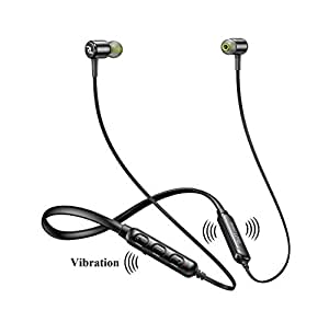 Red Lemon Dhoom D110 Sports Bluetooth Wireless Earphone with Mic, Vibration & Bluetooth v5.0 (Jet Black)