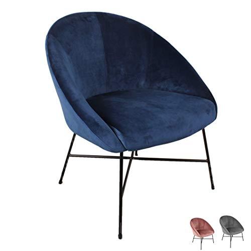 Nimara Samt Sessel | Ohrensessel mit Samt Stoff und Armlehne | Loungesessel mit Comfort und zum relaxen | Qualitätssessel in blau, grau und rosa. | passt gut zum modernen Wohnzimmer (Blau)