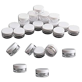 PetHot 100 Pcs Clear Plastic Small Sample Jar Pots Empty Travel Cosmetic Sample Containers Round Mini Glitter Nail Art Storage Tools 5ML