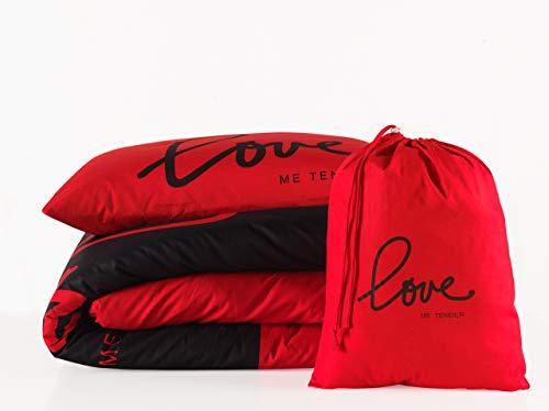 2 tlg. Renforcé Bettwäsche Set   Bettdeckenbezug 135x200 cm, mit Kopfkissenbezug 80x80 cm   LOVE ME TENDER   Rot - Schwarz   2 teilig Bettgarnitur   Baumwolle Bettbezug mit Reißverschluss OEKO-TEX - Schwarz Rot Bettwäsche Set