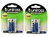 Uniross Rechargeable AA 2700mAh NiMH 1.2V 2Nos Battery set of 2 combo pack
