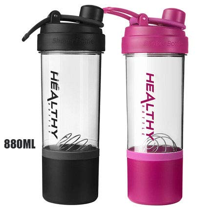 QWER Agitatori di proteine 880ml BPA Free Durable Workout Gym Water Nutrition Shaker Bottle with Storage,Black