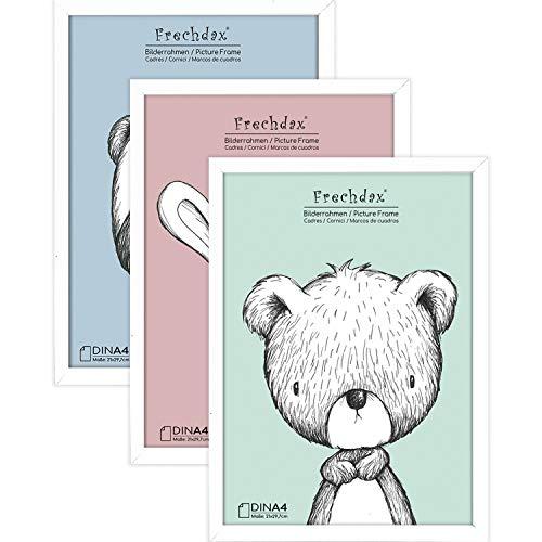 Frechdax® 3er Set Bilderrahmen 21x30 A4 Holz Rahmen für Kinderzimmer Poster schwarz | Weiss | Natur (Weiss, A4 (21x30cm) / 3 Stück)