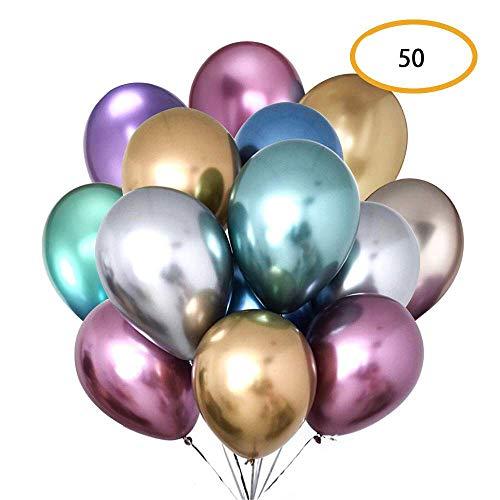 CozofLuv 50 Stück 12-inch Heliumluftballons leuchtende Farben Blau Pink Rot Grün Lila Gelb Latex-Ballon Luftballons Deko für Hochzeit, Geburtstag, Taufe, Party (7 CAI)