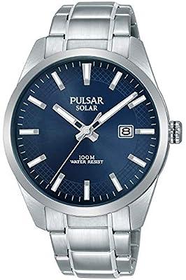 Pulsar Solar Reloj para Hombre Analógico de Solar con Brazalete de Acero Inoxidable PX3181X1